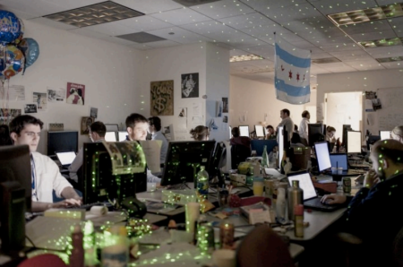 """The Cave"" in Obama for America's Chicago headquarters housed the campaign's Analytics team. Credit: TIME."